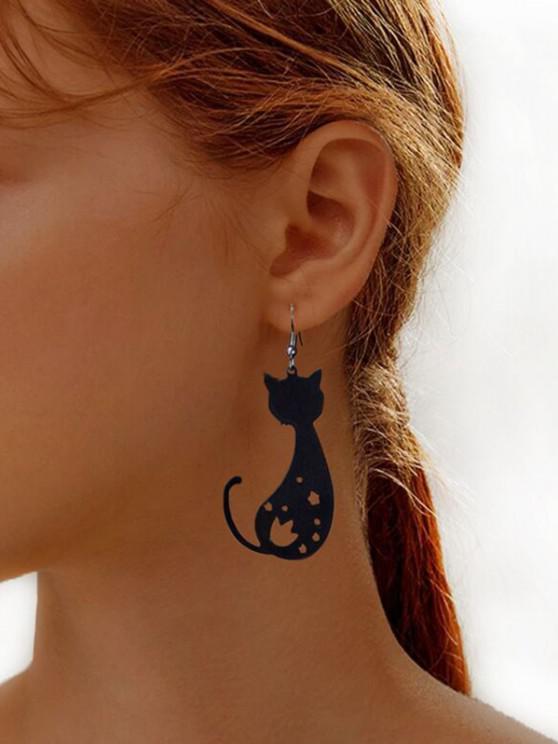 latest Hollow Cat Shape Dangle Earrings - BLACK