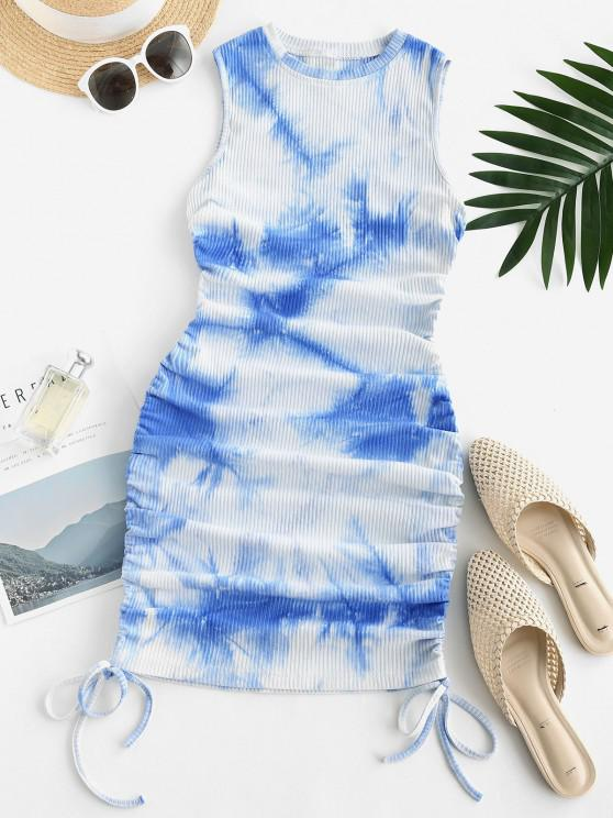 affordable Ribbed Tie Dye Side Cinched Bodycon Dress - LIGHT BLUE S