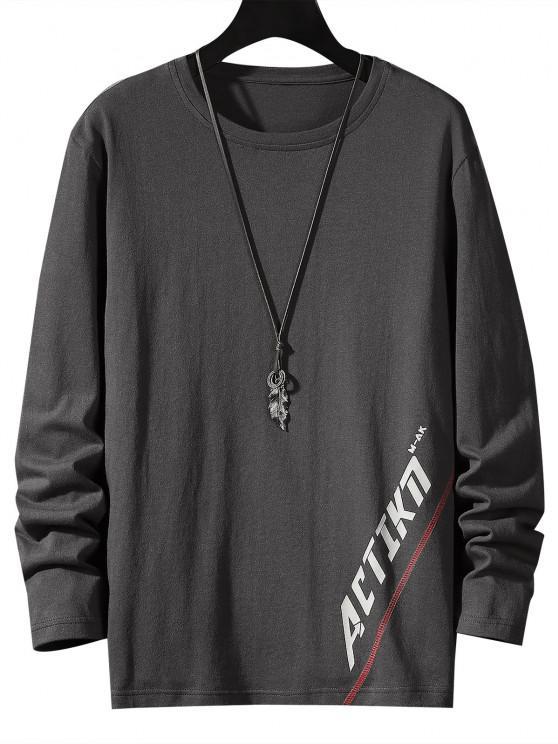 online Letter Print Stitching Long Sleeve T-shirt - DARK GRAY XS