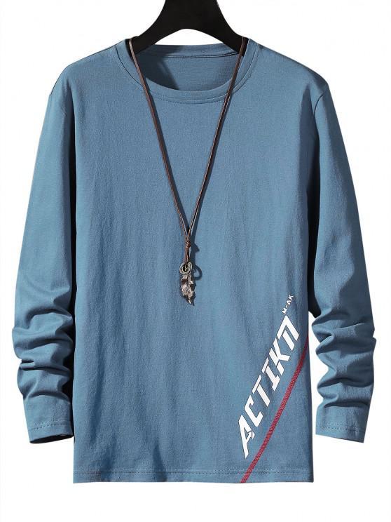 Letter Print Stitching Long Sleeve T-shirt - ضباب أزرق S