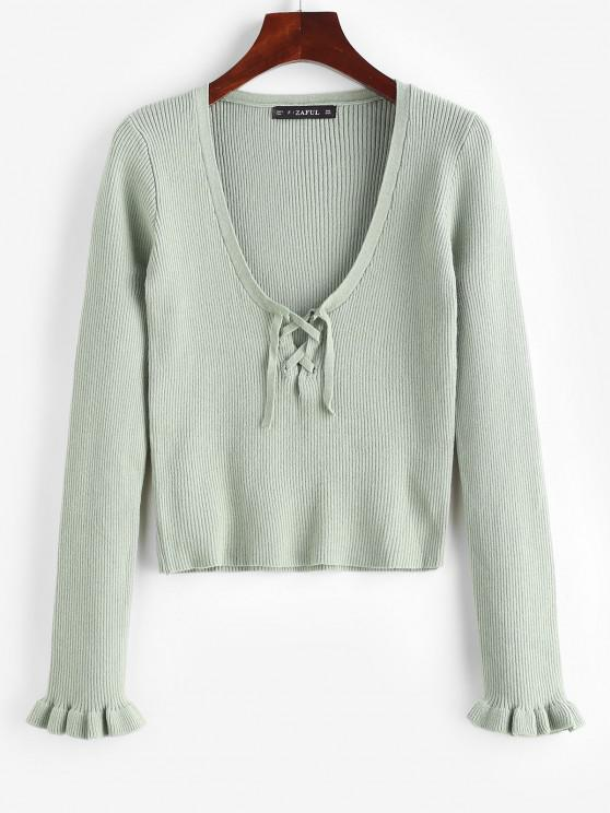 Ribbed Lace-up Plunge Slim Sweater - اخضر فاتح S