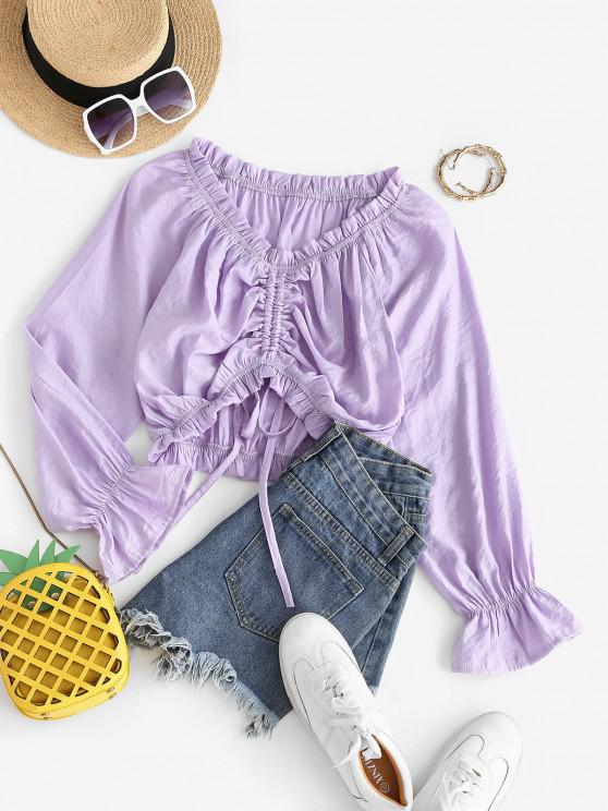 chic Cinched Frilled Poet Sleeve Blouse - LIGHT PURPLE S