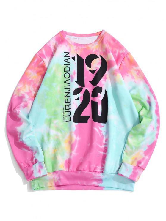 Tie Dye Letter Print Graphic Sweatshirt - وردي فاقع L