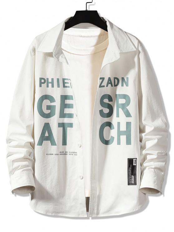 shop Letter Graphic Print Long Sleeve Shirt - WHITE 3XL