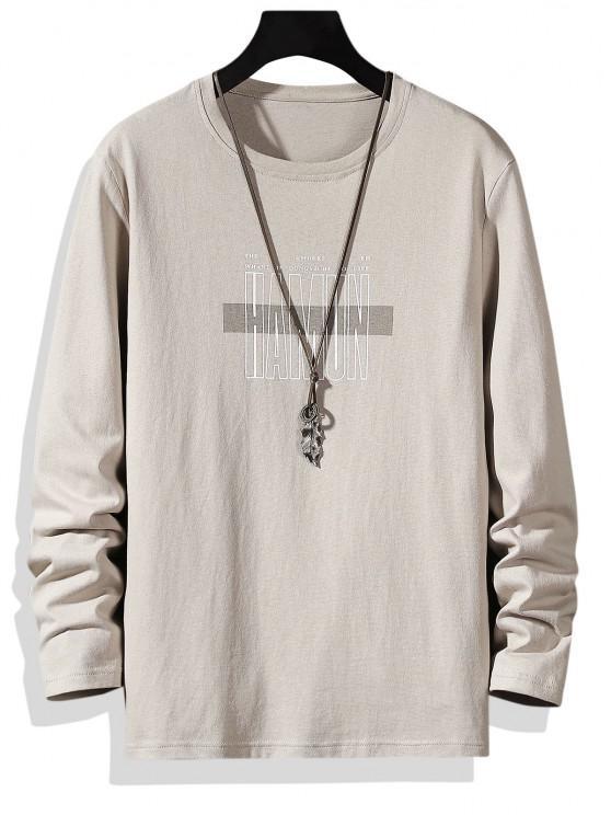 Letter Print Crew Neck Long Sleeve T-shirt - كاكي XS