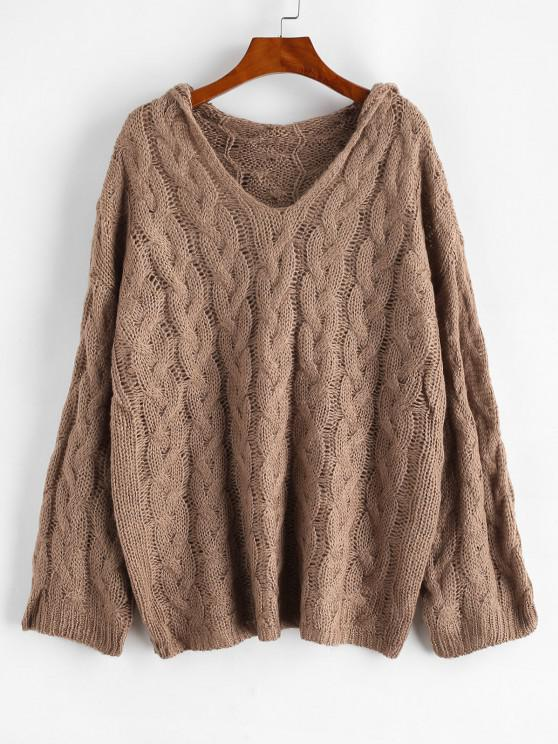 Cable Knit Hooded Drop Shoulder Sweater - Dark Goldenrod M