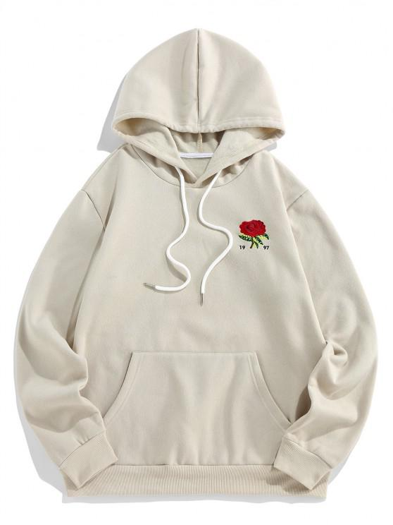 ZAFUL Flower Embroidered Fleece Hoodie - الأبيض الدافئ 2XL