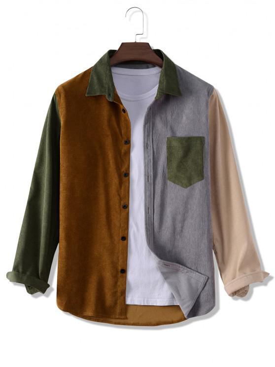 Camisa de Pana con Bolsillo y Bloqueo de Color - Multicolor L