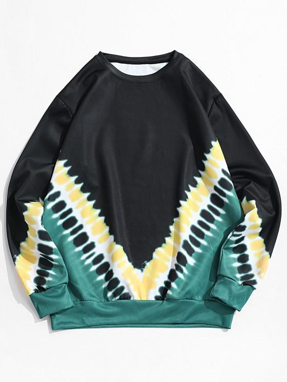 new V-shape Tie Dye Print Pullover Sweatshirt - BLACK S
