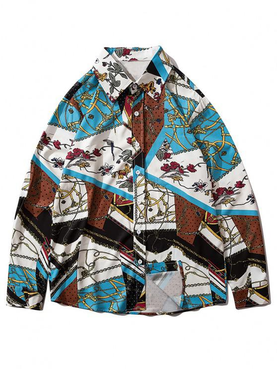 hot Floral Chain Pattern Block Casual Long Sleeve Shirt - MULTI-A XL