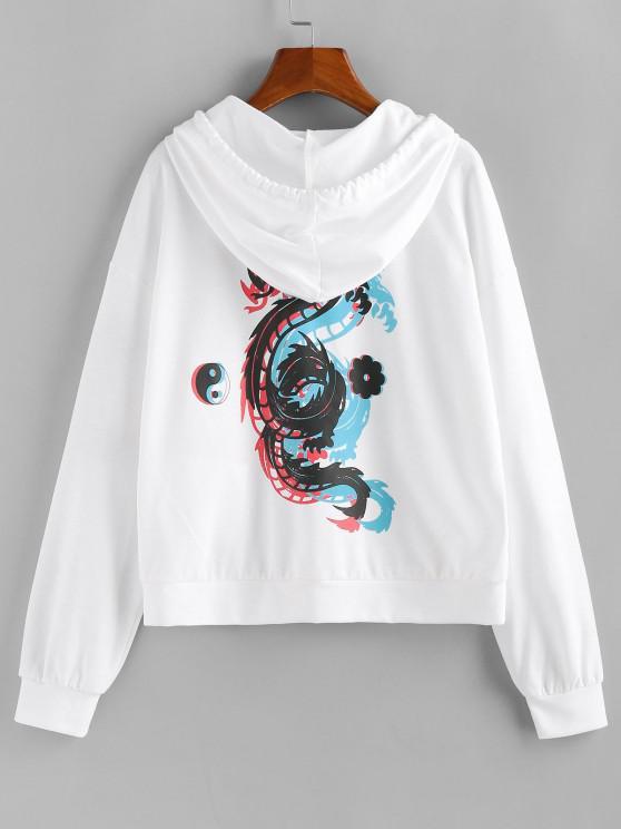 ZAFUL Moletom com capuz Chinoiserie Dragão Impressão de Dragão - Leite Branco M
