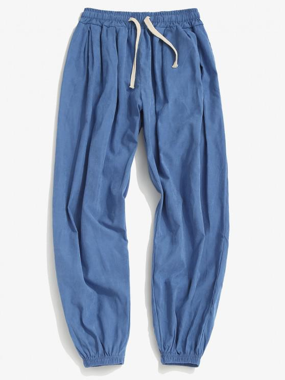 outfits Solid Casual Beam Feet Pants - BLUE XS
