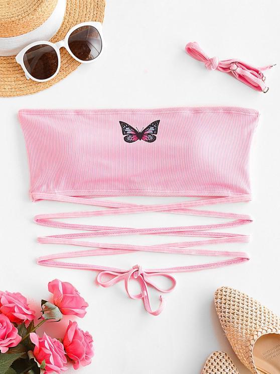 ladies ZAFUL Ribbed Butterfly Print Criss Cross Swim Top - LIGHT PINK L