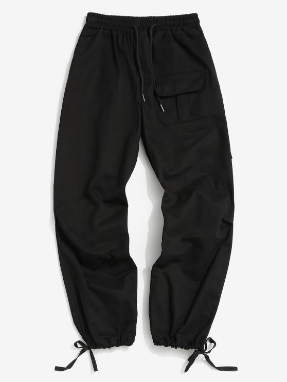 Solid Color Elastic Wasit Cargo Pants - أسود XS