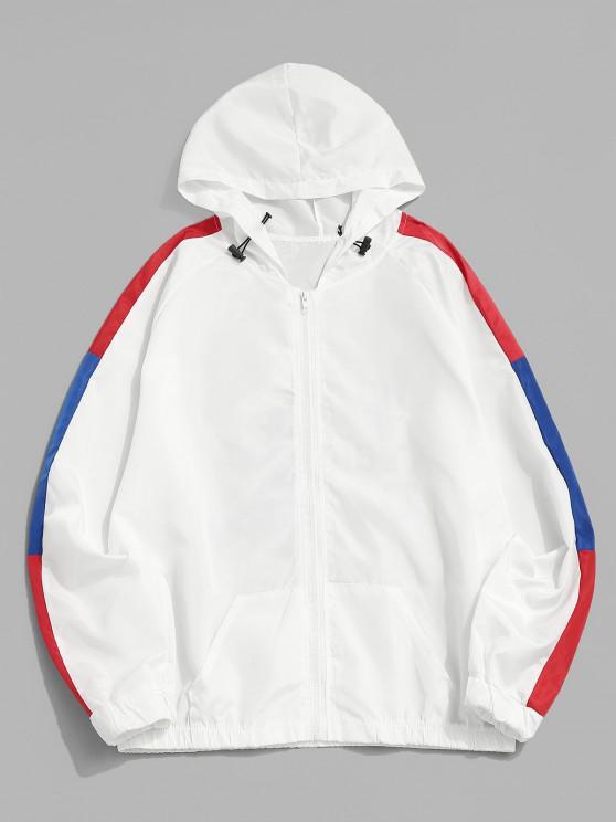 trendy Cartoon Dinosaur Colorblock Raglan Sleeve Hooded Jacket - WHITE M