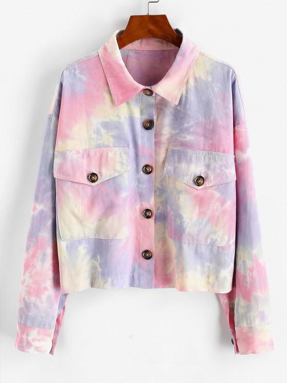 Krawattenfärbender Flap Taschen Hemd Jacke - Multi-A XL