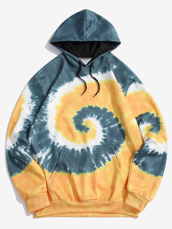 chic Spiral Tie Dye Print Kangaroo Pocket Hoodie - SUN YELLOW XL