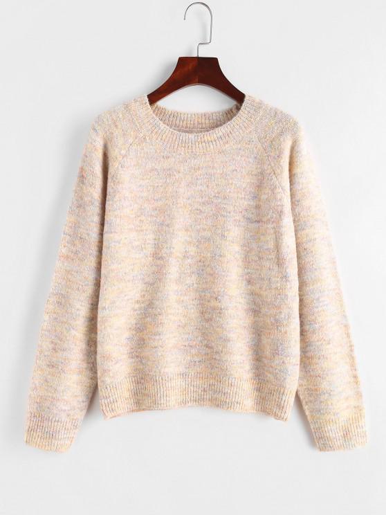Fuzzy Confetti Knit Raglan Sleeve Sweater - وردي فاتح حجم واحد