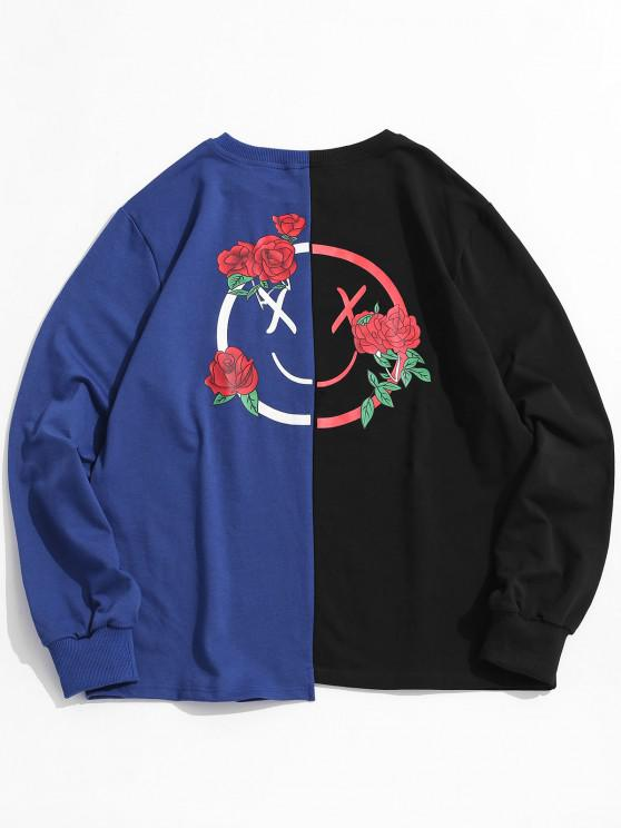 women Flower Graphic Print Two Tone Sweatshirt - BLUE L