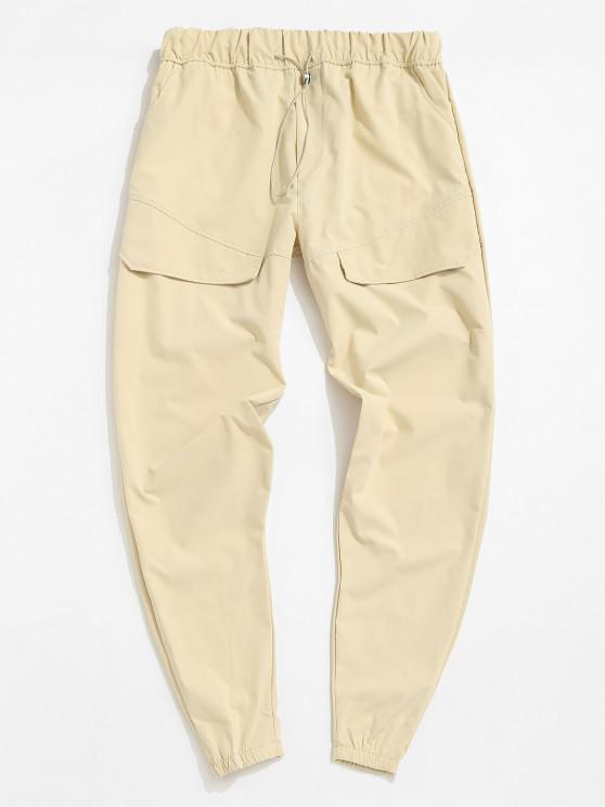 Calças de Cintura Elástica de Bolso de Pés Apertados Sólido - Cáqui Claro 3XL