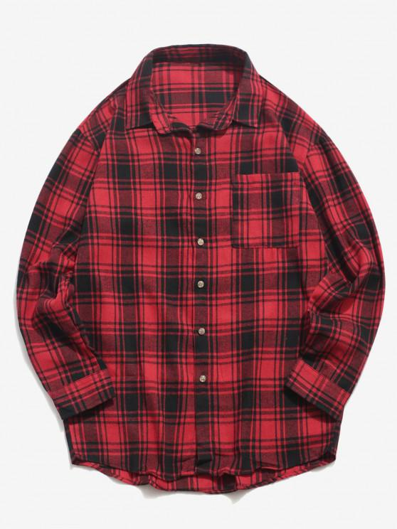 Plaid Print Pocket Casual Shirt - أحمر XS