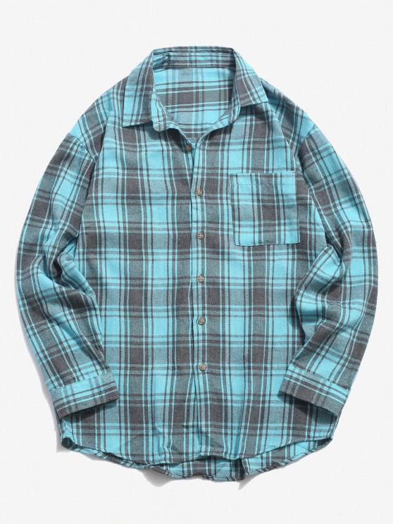 affordable Plaid Print Pocket Casual Shirt - LIGHT BLUE XL