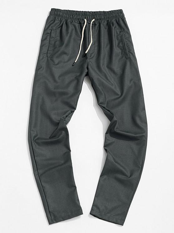 Pantalones Cónicos de Cintura Elástica de Color Sólido - Gris 2XL