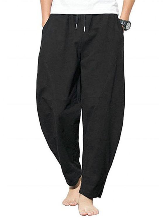 women Pure Color Drawstring Slit Hem Casual Pants - BLACK M