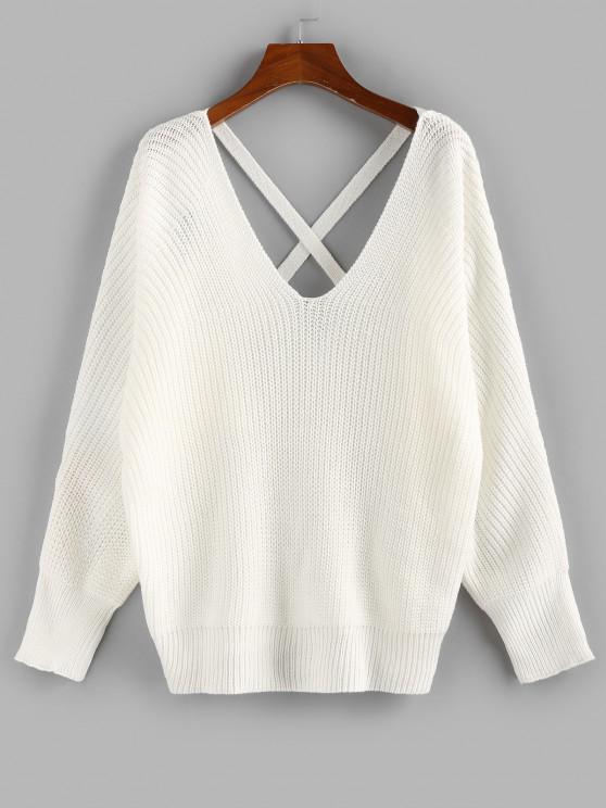 ZAFUL Batwing Sleeve Crisscross Sweater - أبيض S