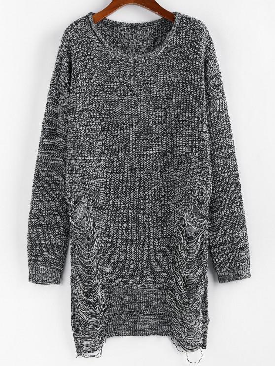 fancy ZAFUL Ripped Heathered Long Tunic Sweater - BLACK S
