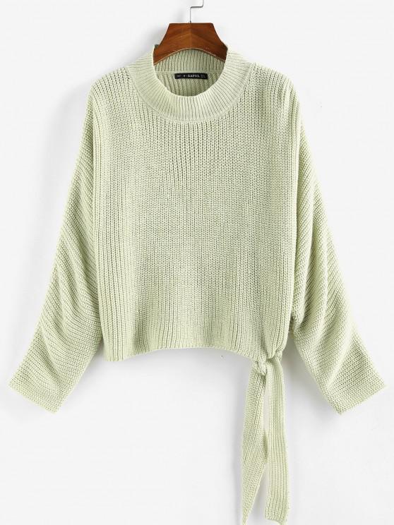 ZAFUL Tie Hem Batwing Sleeve Jumper Sweater - اخضر فاتح L