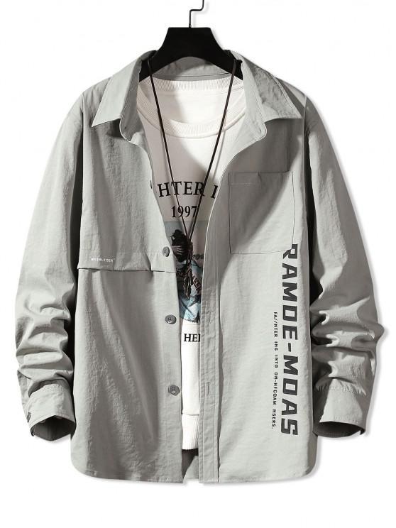 buy Long Sleeve Letter Print Pocket Shirt - LIGHT GRAY 2XL