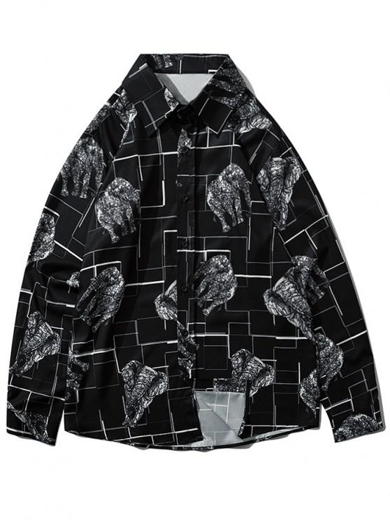 ladies Map Elephant Geometric Print Long Sleeve Shirt - BLACK L