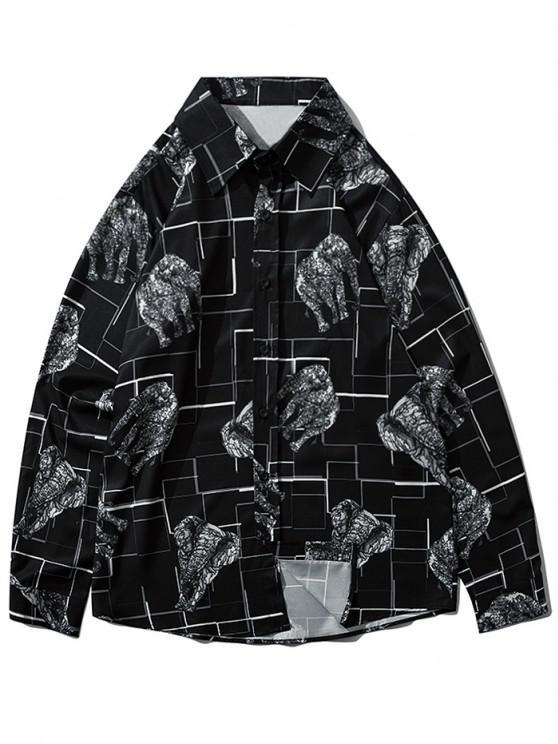Map Elephant Geometric Print Long Sleeve Shirt - أسود M
