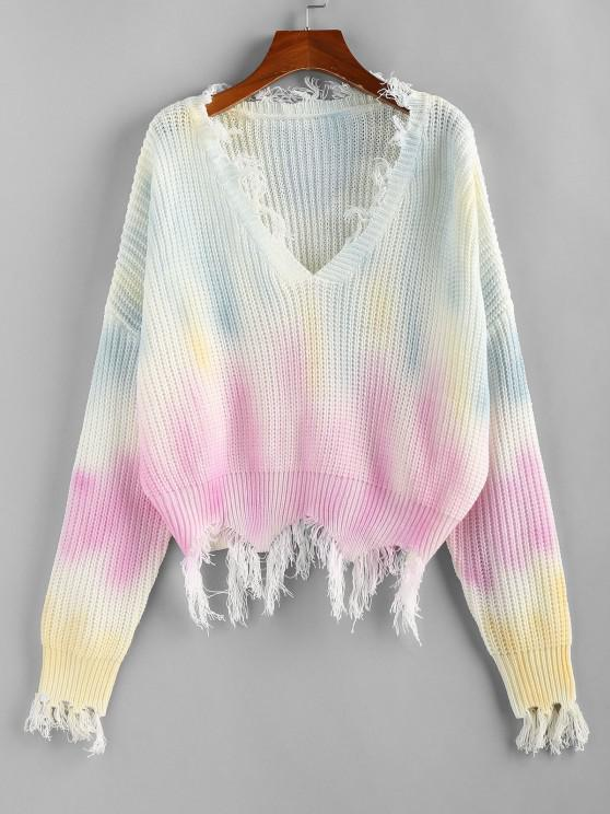 ZAFUL Tie Dye Distressed Drop Shoulder Sweater - متعدد M