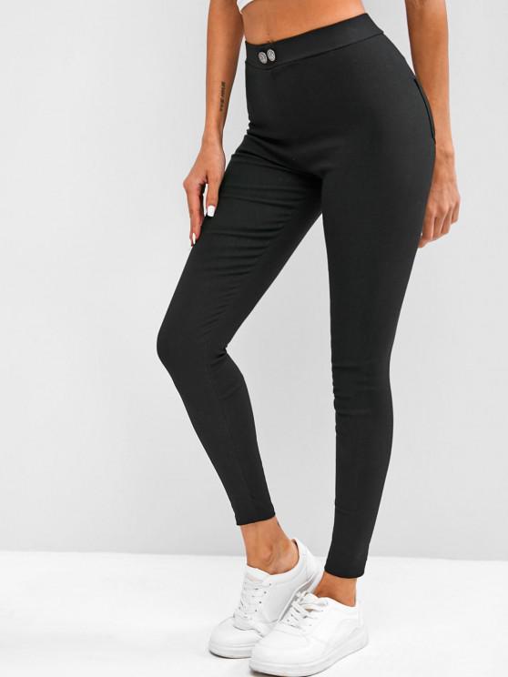 Mock Button High Waisted Skinny Pants - Black Xl   ZAFUL