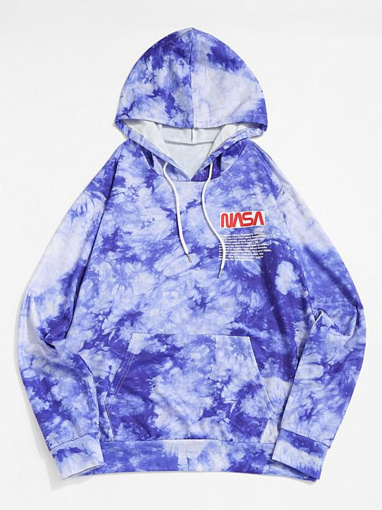 new Letter Graphic Print Tie Dye Hoodie - BLUE 2XL