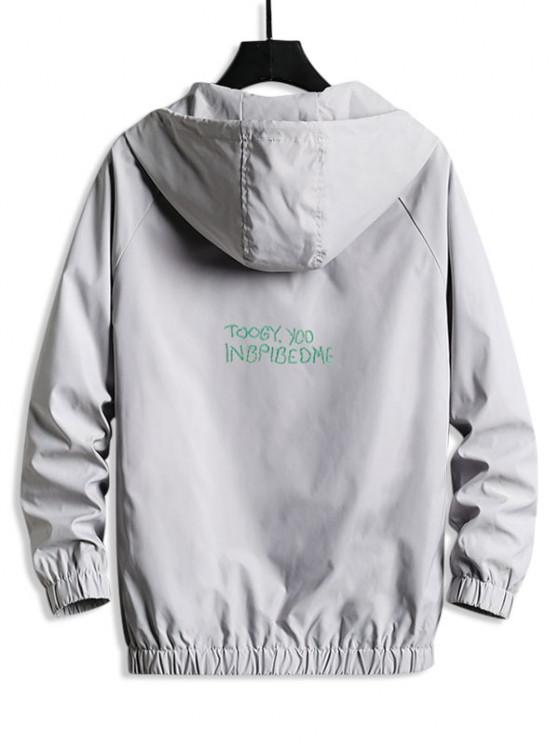 Lettering Back Hooded Windbreaker Jacket - بلاتين S