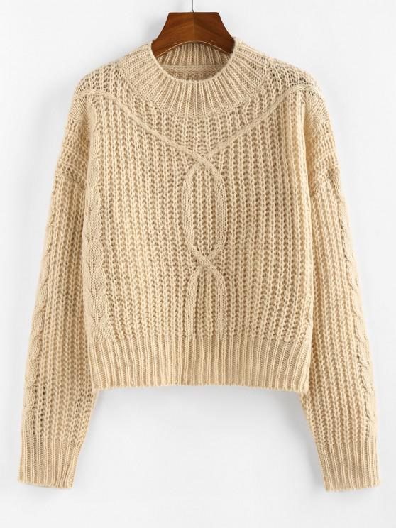 outfit ZAFUL Drop Shoulder Cable Knit Sweater - LIGHT COFFEE M