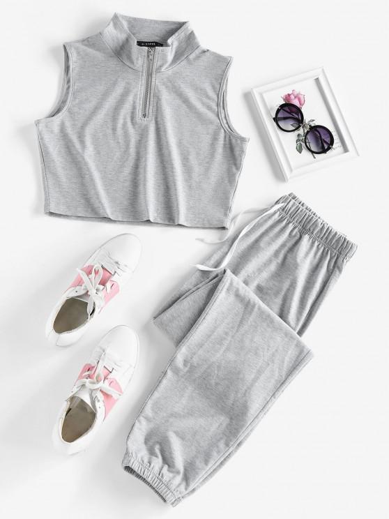 ladies ZAFUL Half Zip Sleeveless Drawstring Sports Pants Set - LIGHT GRAY XL