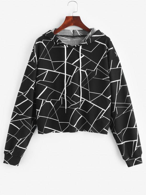 online ZAFUL Geometry Print Drawstring Hoodie - BLACK S