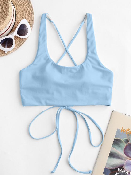 outfit ZAFUL Cross Back U Neck Crop Bikini Top - LIGHT BLUE S