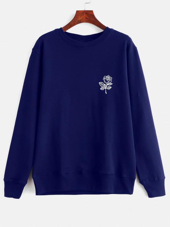 Moletom com gola cavada e estampa floral - Azul Escuro L