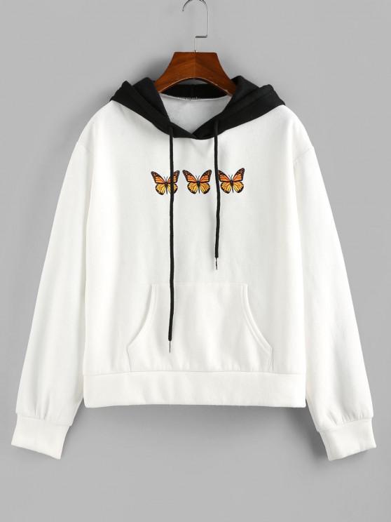 ZAFUL Colorblock Butterfly Print Kangaroo Pocket Hoodie - أبيض S