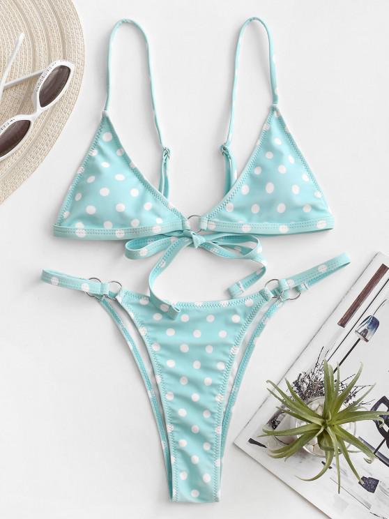 buy ZAFUL Polka Dot O-ring String Bikini Swimsuit - LIGHT BLUE M