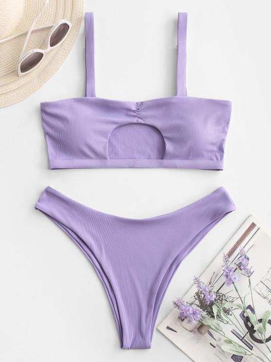 fashion ZAFUL Ribbed Cut Out Ruched Bikini Swimwear - LIGHT PURPLE S