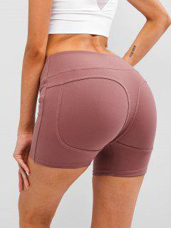 Wide Waistband Topstitch Peach Buttock Biker Shorts - Red S