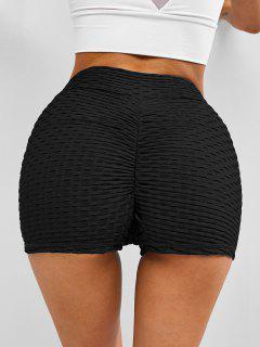 Textured Overlap Waist Ruched Bum Gym Shorts - Black L