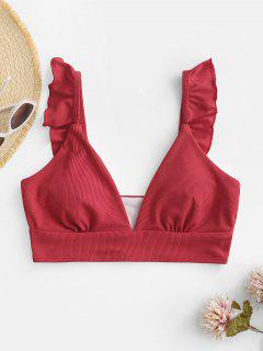 ZAFUL Ribbed Ruffle Plunging Bikini Top - Red M