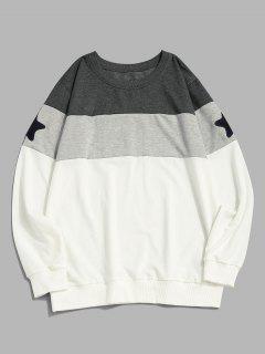Stern Muster Farbblock Rundhalsausschnitt Sweatshirt - Weiß Xl